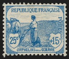 1918 No. 151 (Yvert 2015) War orphans 25c + 15c blue Mint never hinged**, original gum intact. SUPERB - Stamp 1st choice without any defect and excellent centering. Mint. Catalogue value: € 280 (Yvert 2015)  Registered mail