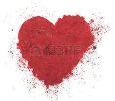 hand getekend kleurrijke rode hart art kleur verf of bloed splatter vlek. photo