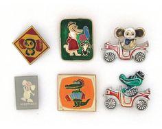 Cheburashka, Badge, Pick from set, Cartoon character, Vintage collectible badge, Soviet Vintage Pin, Stereo, Crocodile Gena, USSR, 1970s