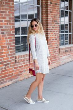 shift dress with metallic gold sneakers