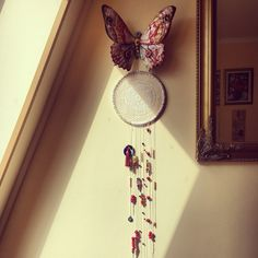 Dream catcher handmade blue eyes papillon