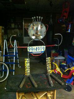 Metal yard art recycled