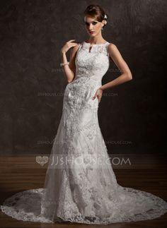Wedding Dresses - $234.99 - Mermaid Scoop Neck Chapel Train Satin Tulle Wedding Dress With Lace Beadwork (002004770) http://jjshouse.com/Mermaid-Scoop-Neck-Chapel-Train-Satin-Tulle-Wedding-Dress-With-Lace-Beadwork-002004770-g4770
