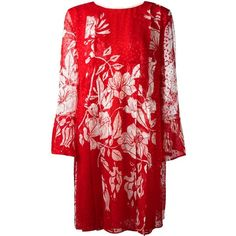 Red silk blend floral print shift dress from Fendi featuring a round neck, long sleeves, pleated details, a loose fit, a knee length, a straight hem, a white f…