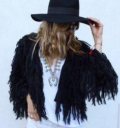 Shag coat, black hat, squash blossom love. Bohemian black outfit ideats