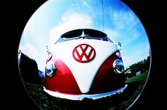 Type 1 VW Bus: As seen through a bus's eye (Or headlight. Same difference) Volkswagen Bus, Vw T1, Vw Camper, Campers, My Dream Car, Dream Cars, Busse, New Print, Sport Cars