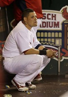 Catcher Yadier Molina Waits Out 3 Hour Rain Delay in Game 3 - NLCS Giants/Cardinals Baseball. Yadier Molina, Cardinals Baseball, Game 3, My Passion, Packers, My Man, Sports News, Thunder, Catcher
