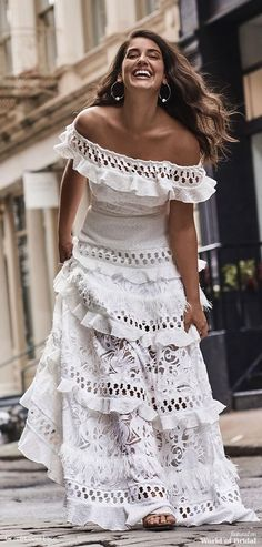 Off Shoulder Solid White Ruffles Short Sleeve Vintage Boho Bohemian Dress Hippie Stil, Mode Hippie, Hippie Boho, Beautiful Dresses, Nice Dresses, Summer Dresses, Dresses Dresses, Wedding Dresses, Ceremony Dresses