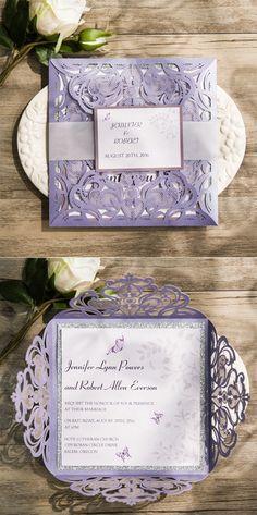Romantic Butterfly Lavender Silver GlitteryLaser Cut Wedding Invitations #ElegantWeddinginvites