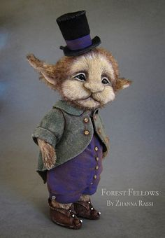 Orin - faery, this is too cute Weird Creatures, Fantasy Creatures, Mythical Creatures, Troll Dolls, Ooak Dolls, Art Dolls, Needle Felted Animals, Felt Animals, Forest Elf