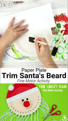 Trim The Beard Paper Plate Santa Craft is so cute and lets kids develop their fine motor cutting skills. A fun educational Christmas craft for preschoolers. Christmas Arts And Crafts, Santa Crafts, Christmas Crafts For Toddlers, Winter Crafts For Kids, Xmas Crafts, Diy Crafts For Kids, Kids Christmas, Ideas For Christmas, Christmas Cards Handmade Kids