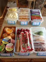 "BIN#1 ""Junk food"" e.g., popcorn, veggie straws - Take 1 BIN #2 Crackers - Take 1 BIN #3 Fresh fruit and vegetables - Take 1 BIN #4 Fruit Cups/Apple Sauce - Take 1 BIN #5 Dairy: cheese strings, babybells, yogurt cups, yogurt straws, yogurt drinks - Take 2 BIN #6 Meat & veggies, pairing of lunch meat rolled up, left over chicken, boiled eggs etc with cucumbers, carrots, peppers - Take 2 BIN #7 Baked Goods - Granola bars, mini muffins, cookies - Take 1"