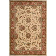 "Nourison Living Treasures Ivory/Red Rug Rug Size: 8'3"" x 11'3"""
