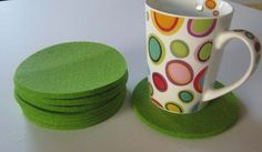 Set of 8 Bright Green Felt Coasters Gray  Drink by Jackwood, $32.00