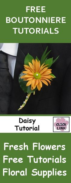 FREE FLOWER TUTORIALS http://www.wedding-flowers-and-reception-ideas.com/make-your-own-wedding.html  How to Make a Brown Daisy Boutonniere - Easy Wedding Flower Tutorials.  Buy wholesale flowers and professional florist supplies.