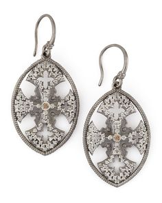 New World Diamond Maltese Cross Shield Earrings.