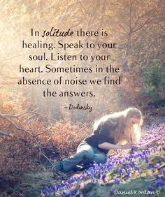 In solitude there is healling. Speak to your soul. Listen to your heart. Sometimes in the absence of noise we find the answers.