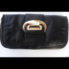 Selling this MK Super Soft Black Leather Clutch w Gold Buckle in my Poshmark closet! My username is: tikmic01. #shopmycloset #poshmark #fashion #shopping #style #forsale #Michael Kors #Handbags
