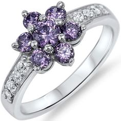 925 Sterling Silver Shiny Amethyst Clear CZ Romantic Flower Love Ring Size 3-11 #Unbranded #WeddingEngagementRing