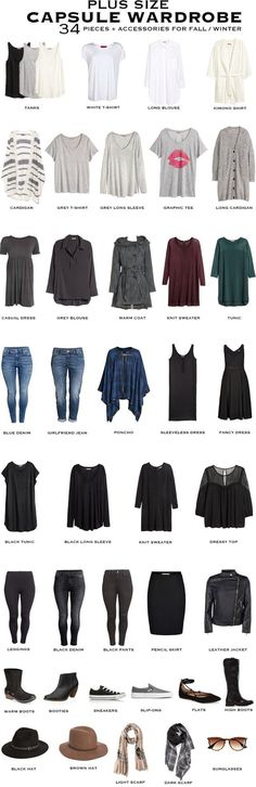 Plus Size Capsule Wardrobe for fall/winter. 34 pieces + accessories will transition you through to summer. #capsule #capsulewardrobe #plussizefashion