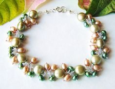 ON SALE Olive pearl bracelet with pearl by oneoffcreations on Etsy, $28.80