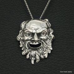 BIG RARE SATYRUS 800 STERLING SILVER GREEK HANDMADE ART BROOCH PENDANT #IreneGreekJewelry