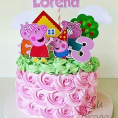 Bolo peppa pig mouse for editing and printing – Mimo Kids – Typical Miracle Tortas Peppa Pig, Bolo Da Peppa Pig, Peppa Pig Birthday Cake, Baby Girl Birthday, 3rd Birthday, Bolo Laura, Pepps Pig, Cake Decorating For Kids, Aniversario Peppa Pig