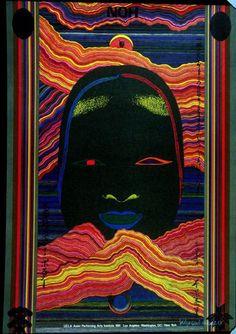 Kiyoshi Awazu, commemorative poster, 1981. Toppan Printing Co., Ltd. Noh/ UCLA Asian Performing Arts Institute, University of California at Los Angeles. Via FAMSF