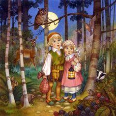 Babes in the Wood by Carol Lawson Hansel et Gretel Brothers Grimm Fairy Tales, Hansel Y Gretel, Creation Photo, Fairytale Art, Nocturne, Nursery Rhymes, Book Illustration, Illustrators, Cross Stitch Patterns