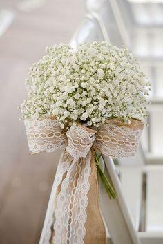 Burlap, lace and baby's breath wedding aisle chair decor / http://www.himisspuff.com/rustic-babys-breath-wedding-ideas/2/