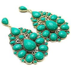 Turquoise Teardrop Design Earrings for Girls