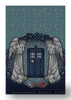 Art Nouveau blue box print / the Doctor by littlegeekeryshop