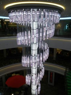 Chandelier on the Getaway (ship) of Norwegian Cruise Line.  In the atrium and changes colors.