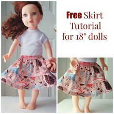 """Ruffled Tiered Skirt Tutorial for 18"""" Dolls:  The skirt has a flat front waistband with elastic in the back and two gathered tiers. It's super cute and takes up barely any fabric."""