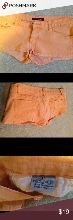 Orange, very short, shorts by Tally Weijl Very short, petite, orange shorts. Stretch material. Bought these in Europe at a boutique store. Tally Weijl  Shorts
