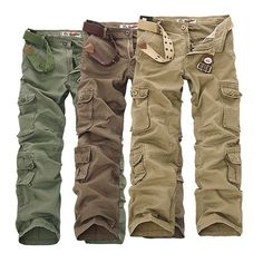 ChArmkpR Mens Military Outdoor Loose Large Size Cotton Multi-pockets Cargo Pants. Description:  Material: Cotton Blend Color: Black, Coffee, Army Green, Khaki Occasion:  Casual, outdoor Season:  Spring, Summer, Fall, Winter Product Note:  All pockets can hold 4.7in' but not larger.(Are fit iPhone 6S) Please choose right size according to your dressing habits such as slim or loose fit. Details in size:  US Size 30 32 34 36 38 40 42 44 46 Asian Size 30 32 34 36 38 40 42 44 46 Waist 80CM…
