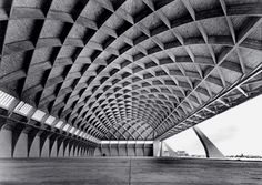 Pier Luigi Nervi, airplane hangar, Italy, 1950s. Nervi virtually invented the two-way, reinforced concrete space frame, constructed with his patented material 'ferrocemento,' which used high-strength cement and only fine aggregates, achieving unprecedented thinness and lightness.