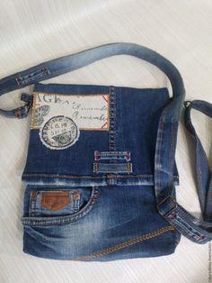 Сумка планшет из джинсов