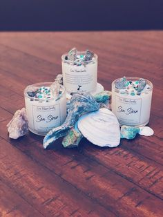 Crescent Moon Ceramic Sea Salt Moon Soy Candle Siren of the Sea Hand Poured Candle Hand Thrown Pottery Candle Crystal Pottery