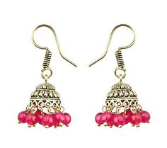 Waama Jewels Special Festival Jewellery Earrings of Elegant Pair Of Oxidised Jhumki Earrings Adorned With Pink Color Stone