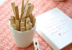 Set up a clothesline and lay out a stack of paper and pretty pens.  Have guests write their favorite stories and memories of you and hang them on the line for all to read!