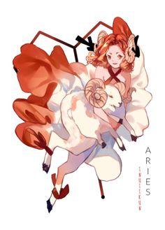 Aries By Inuiikun Arte Aries, Aries Art, Zodiac Art, 12 Zodiac, Character Inspiration, Character Art, Character Design, Zodiac Characters, Anime Zodiac