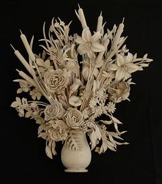 The Art of Subtraction: Carvings by David Esterly:  Flowerpiece with Vase  2002, Limewood, 30 x 16 x 12 in.  Private Collection