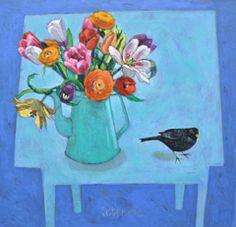 Andrea Letterie, Voorjaarsbloemen en merel, Gemengde technieken op paneel, 60x63 cm, €.975,-