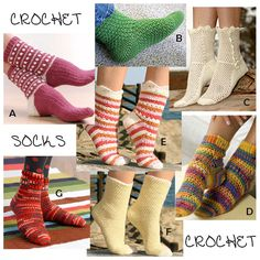 Crochet Socks Patterns - 7 attractive patterns available for you to choose from. Crochet socks for yourself or as a gift. Find a pattern right for you. Crochet Sock Pattern Free, Love Crochet, Crochet Crafts, Crochet Yarn, Crochet Projects, Crochet Stitches, Crochet Patterns, Crochet Granny, Stitch Patterns