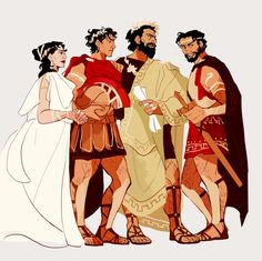 """saltroclus: """" A companion to this. Hypermenestra, Damianos, Theomedes, and Kastor :^) """""""