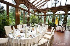 #Wedding #Table arrangement, greenhouse patio, elegance.