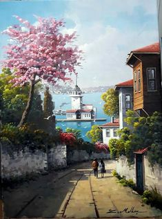 Yağlıboya tablo Watercolor Landscape, Landscape Paintings, Watercolor Paintings, Relaxing Art, Oil Painting Pictures, Oil Pastel Art, Turkish Art, Nature Pictures, Painting & Drawing