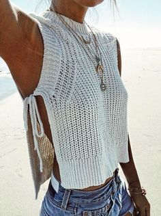 Knits don't only have to be for big, chunky sweaters! Try a knit tank as a cover up for the beach or use it to layer for a day outfit. Let DailyDressMe help you find the perfect outfit for whatever the weather! dailydressme.com/