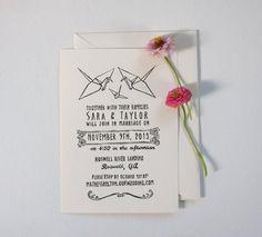 Origami Crane Wedding Invitation Stamp by nativebear on Etsy